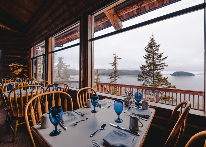 Salmon Falls Restaurant Timbers with a view of the water