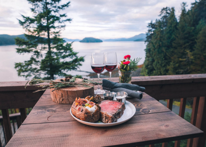 Prime Rib Special with wine at Timbers Restaurant