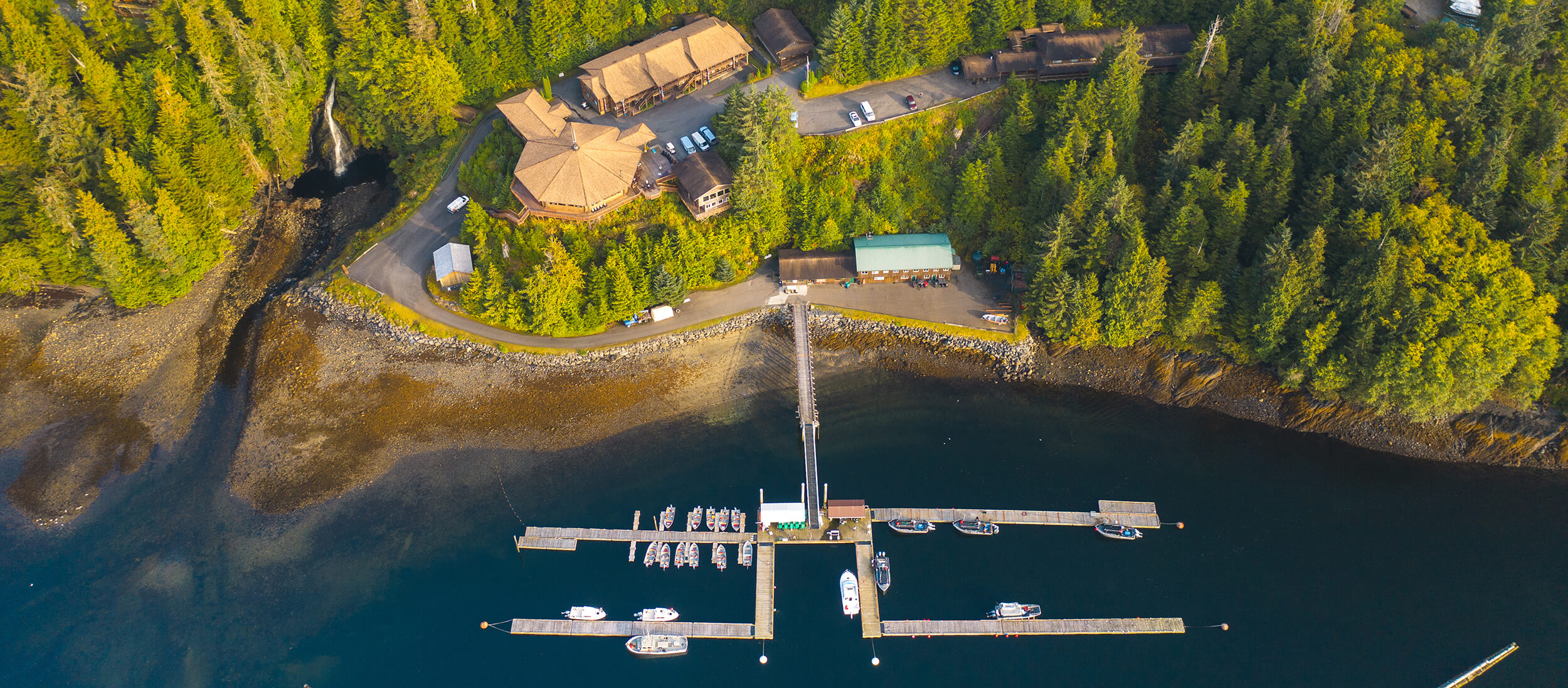 Aerial Pano view of Salmon Falls Resort