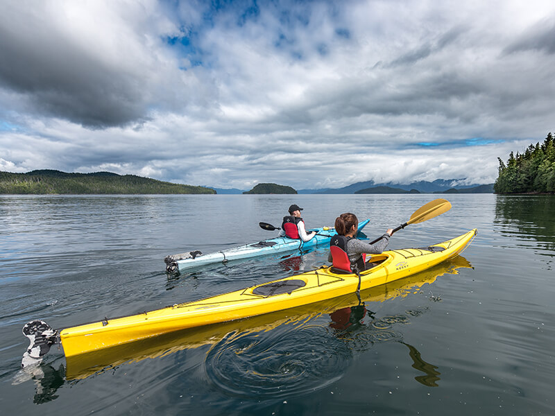Kayaking along the coast in Ketchikan