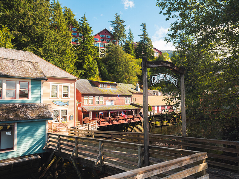 Shopping on Creek Street in downtown Ketchikan