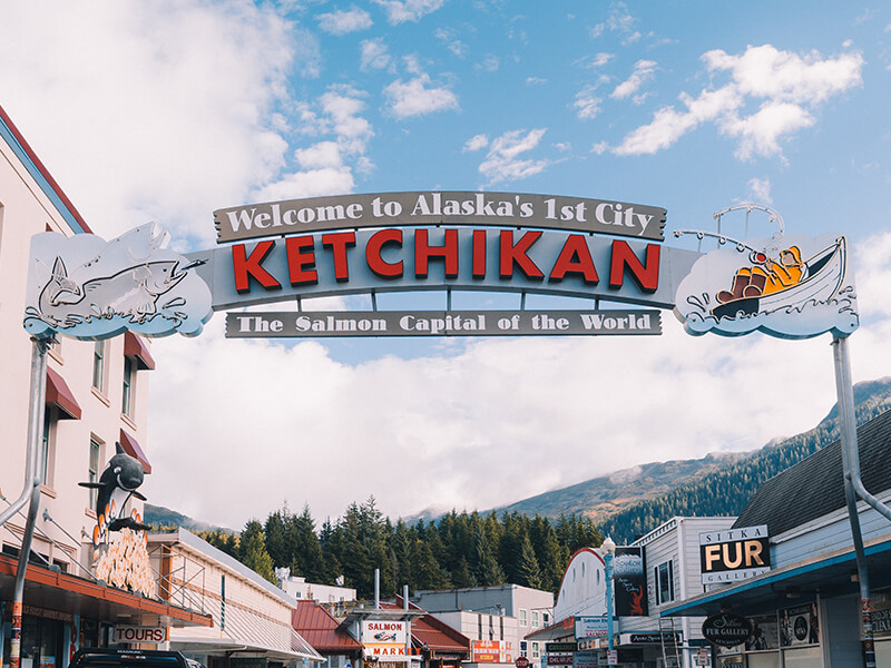 Welcome to Ketchikan Sign in downtown Ketchikan