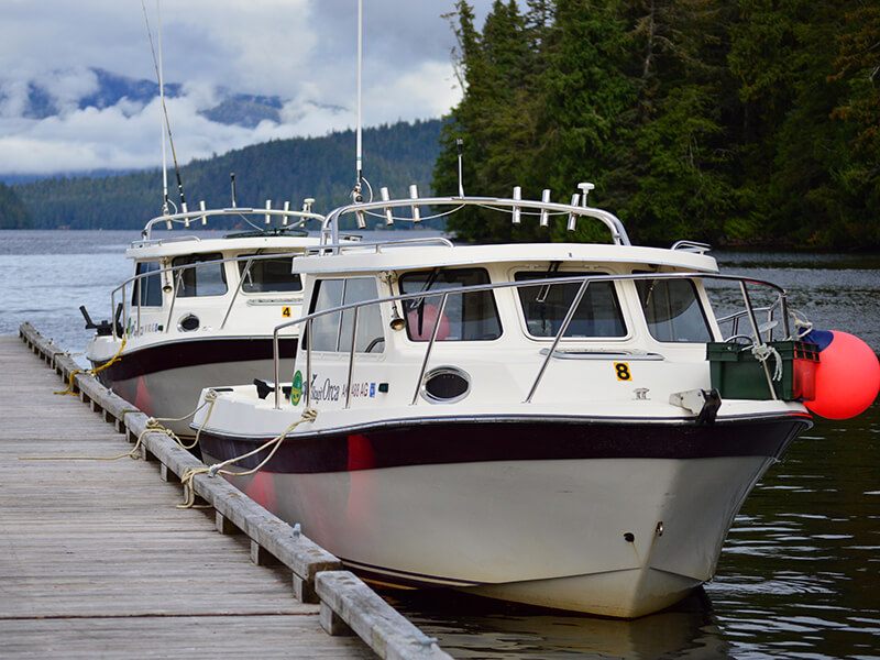 Self Guided Orca Boats docked in the marina