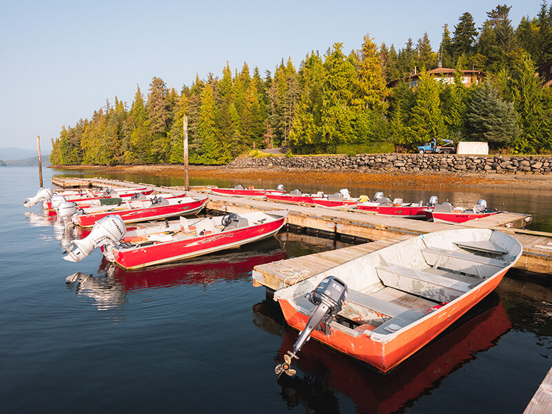 Self-Guided Skiffs docked in the marina