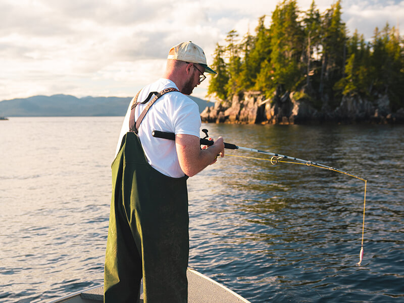 Dropping a line to fish in a Self-Guided Skiff