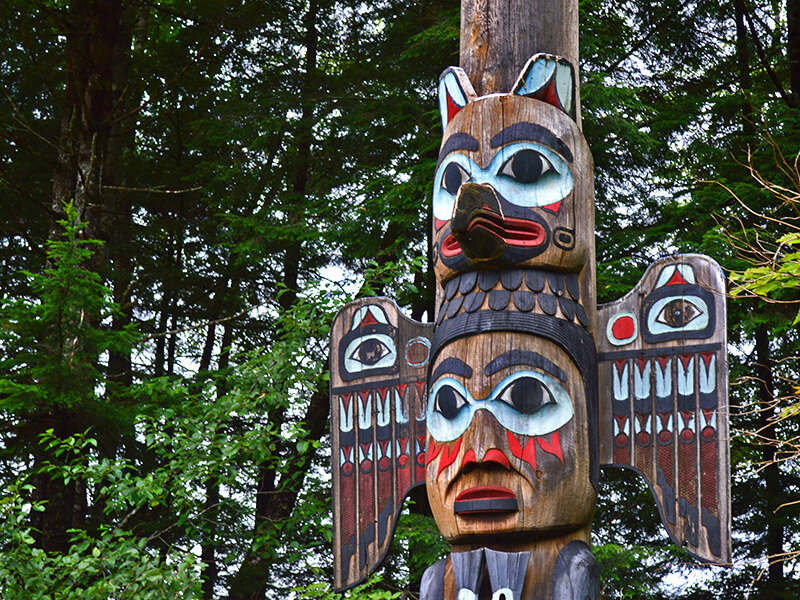 Totems located at the Totem Bight State Historical Park